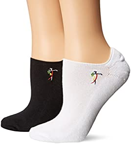 LPGA SOCKS and LEGWEAR Womens LPGA The Comfort Socks 2-Pair-Embroidered Logo 9 to 11