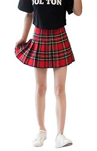 Plaid Girls Skirts Green (Beautifulfashionlife Women's High Waist Pleated School Skirt(Red Mixed Green,S))