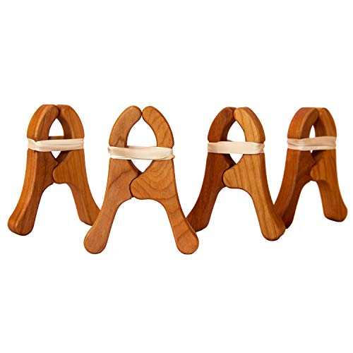 Sarah's Silks - Play Clips, Cherry Wood, Beeswax Polish, 4.5-Inch Long 3.5-Inch Wide + 4 Extra Rubber Bands for Each Clip - Clip Pack of 4 (Sarahs Play Silks)