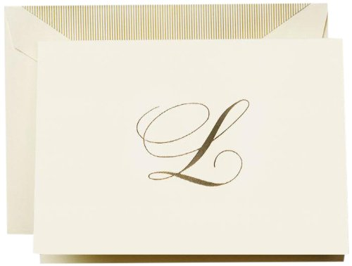 Crane & Co. Hand Engraved Script''L'' Initial Note (CF13L1), Pack of 10