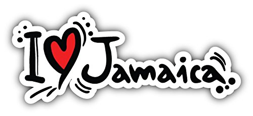 - I Love Jamaica Slogan Art Decor Bumper Sticker 6'' x 3''