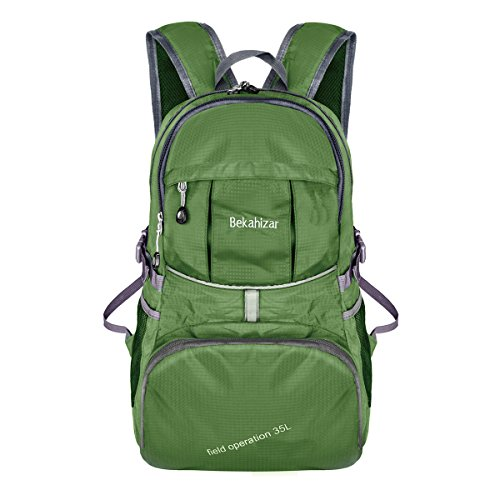 Price comparison product image Bekahizar Lightweight Foldable Backpack 35L Ultralight Packable Daypack for Traveling Day Trips Outdoor Sports Hiking Trekking Camping Cycling (Green)