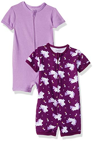 Baby Layette Unisex (Hanes Ultimate Baby Zippin 2 Pack Rompers, Purple Unicorn 0-6 Months)