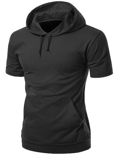 mens cotton Zip up hoodie T-shirt BLACK M