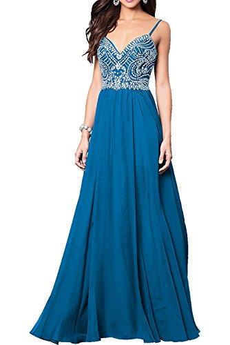 Blau La Ballkleider Damen Langes Braut Linie mit Partykleider Chiffon Fesltichkleider Abendkleider A Steine Marie xwB6RAwq1H
