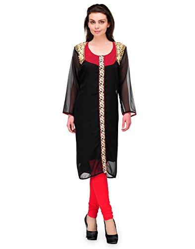 Cenizas Women's Indian Tunic Top Georgette Kurti – Medium, Black