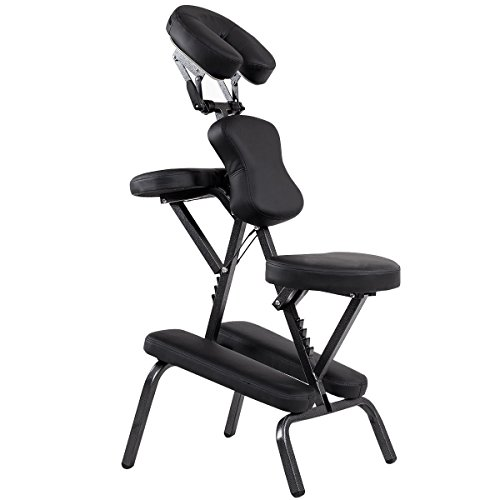 Price comparison product image Pad Massage Chair Portable Tattoo Spa Travel with Carrying Bag PU Leather Black
