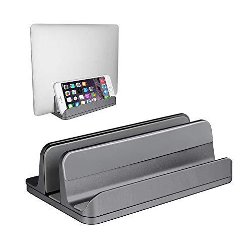 (Upgraded Version) Vertical Laptop Stand, JARLINK Desktop Stand Adjustable Laptop Holder (up to 17.3 inch) Compatible MacBook Pro/Air, Microsoft Surface, Gaming Laptops, Lenovo (Gray) by JARLINK