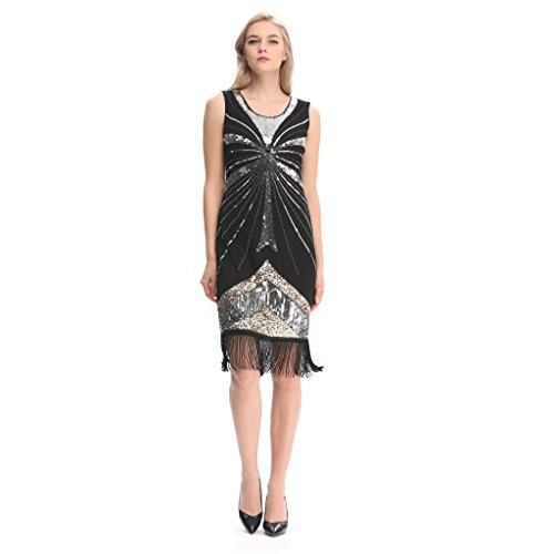 Pilot-trade Women's Vintage 1920s gatsby Look Flapper Swing Fringe Cocktail Party Dress XL (The Roaring 20s Fashion)