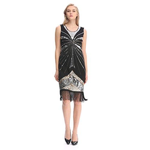 Flapper Look (Pilot-trade Women's Vintage 1920s gatsby Look Flapper Swing Fringe Cocktail Party Dress XL)