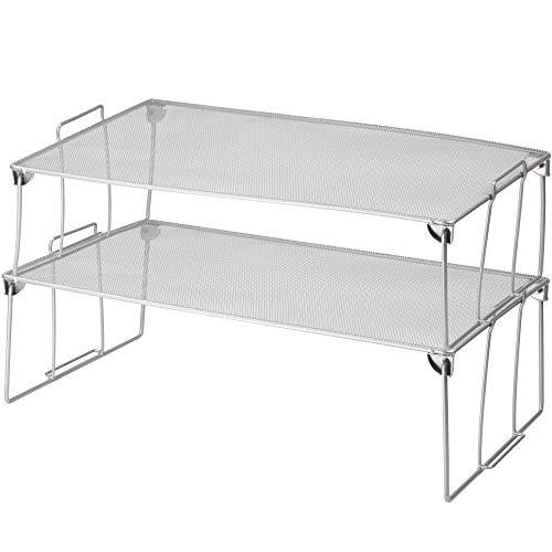 (YBM HOME Stainless Steel Stackable Mesh Shelf (Silver) - Multipurpose Storage Rack for Kitchen/Bathroom/Garage/Office - Durable, Wire Pantry Organizer Foldable Space Saving Design 2256-2 (2, Medium))