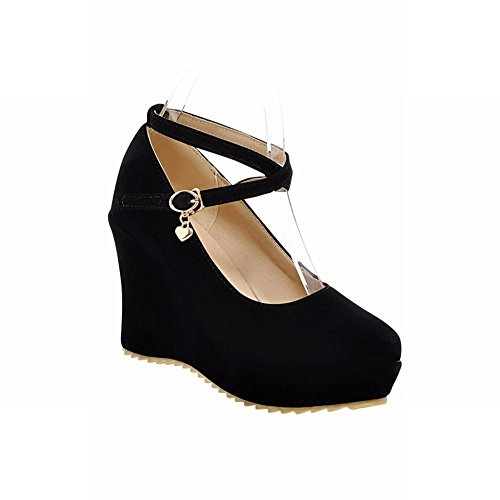 Casual Shoes Wedge Dress srap Faux Fashion Pumps Black Latasa Cross High Nubuck Heel Platform Womens O8xTv