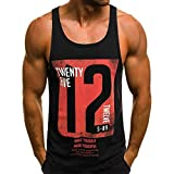 Willsa Mens Shirts, Fashion Personality Casual Letter Printed Sleeveless Tank Tops Sweatshirt Vest T Shirt Black