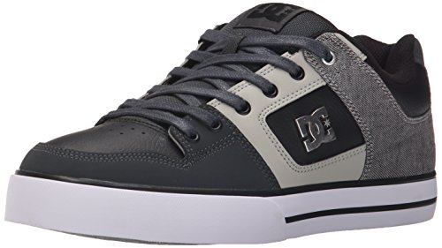 DC Men's Pure SE Skate Shoe, Grey/Black/Grey, 7 M US