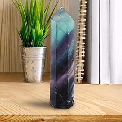 AUNMAS Rainbow Natural Fluorita Cristal de Cuarzo Varita Hexagonal Promoción de la Salud Piedras Preciosas Oficina en el Hogar Decoración de Escritorio (3#)