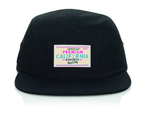 5 Panel Camper Strap Back Hat With Official PCE Remix - Black (Crown Five Panel Cap)