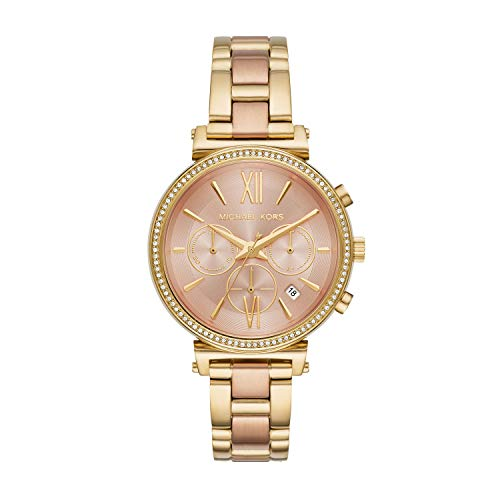 - Michael Kors Women Sofie Quartz Stainless Steel Gold with Rose Gold Dial Watch MK6584