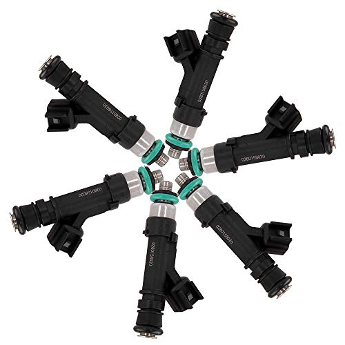 (ROADFAR Fuel Injectors Parts, 4 Hole Engine Fuel Injector Kits Fit for Dodge Dakota/Durango/Nitro/Ram 1500,Jeep Commander/Grand Cherokee/Liberty,Mitsubishi Raider,Ram 1500 0280158020,Set of 6 )