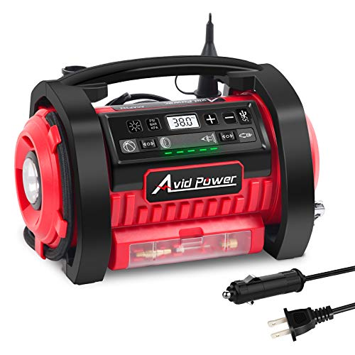AVID POWER Tire Inflator Air Compressor, 12V DC / 110V AC Dual Power Tire Pump with Inflation and Deflation Modes, Dual…