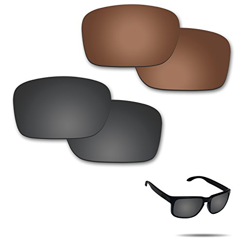 Fiskr Anti-Saltwater Polarized Replacement Lenses for Oakley Holbrook Sunglasses 2 Pairs Packed (Stealth Black & Bronze Brown)