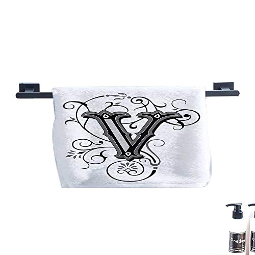 warmfamily Letter V Soft Bath Towel Gothic Halloween Style Uppercase V with Curved Lines Ivy Stripes Calligraphy W19 x L19 Black Grey White ()