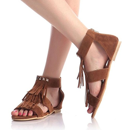 Sen sandals tassel Department flat rivets summer students of new camel color women comfortable rrq6zp