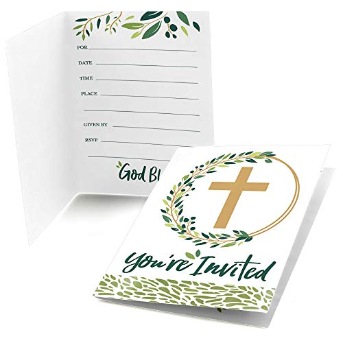 Big Dot of Happiness Elegant Cross - Fill in Religious Party Invitations (8 Count)