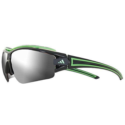 adidas evil eye halfrim pro L a167-6050 Rectangle Sunglasses,Shiny Black & Green Frame/LST Active Silver/LST Bright Lens,One - Lenses Pro Evil Eye Adidas