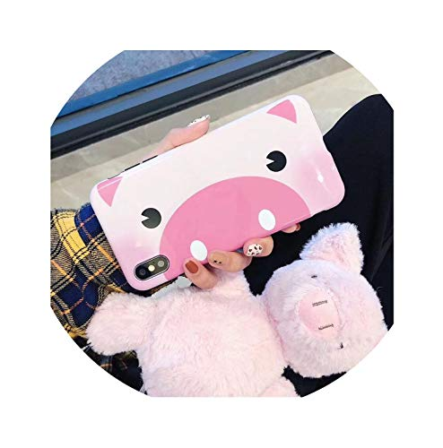 Cute Funny Cartoon Pig Fashion Couple Mobile Phone Case for iPhone 6 6S 6Plus 7 7 Plus 8 Plus X Xr Xs,Rosado,for iPhone Xs Max ()