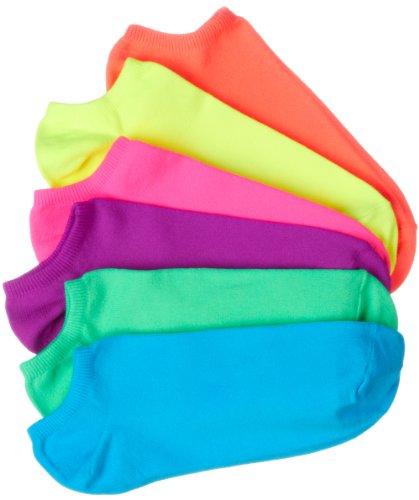 Womens Neon Liner Socks - Hue Women's 6-Pack Microfiber Liner Socks,Neon Asst,One Size