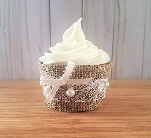 Rustic Burlap and Lace Cupcake Wrappers, Burlap Cup Cake Holders, Rustic Wedding Cupcake Liners, Fall Bridal Shower Decorations, Rustic Baby Shower Decorations 12 Standard Size