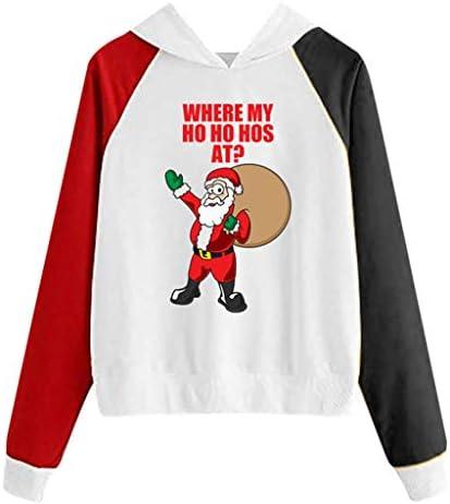FELZ Sudadera con Capucha Mujer Navidad Otoño e Invierno Sudaderas Mujer Tumblr Adolescentes Chicas Hoodie Sweatshirt de Manga Larga Patchwork Jersey Pullover Tops Suéter Cuello Redondo: Amazon.es: Ropa y accesorios