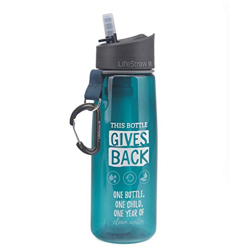 LifeStraw Go Water Filter Bottle with 2-Stage Integrated Filter Straw for Hiking, Backpacking, and Travel, Give Back (Special Edition) (Life Give)