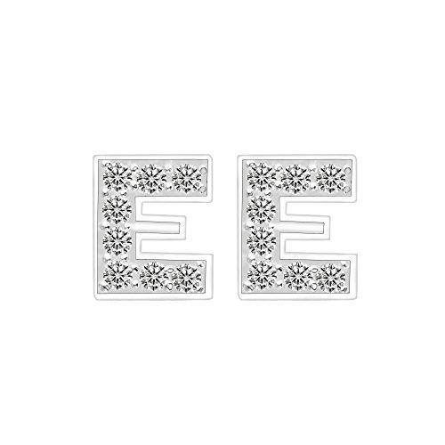 - EVER FAITH 925 Sterling Silver Pave CZ Stunning Initial Alphabet Letter E Pierced Stud Earrings