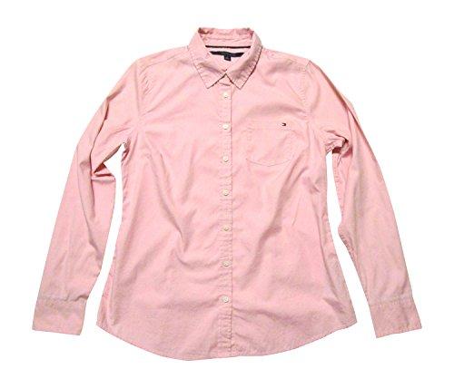 Tommy Hilfiger Womens' Cotton Woven Solid Dress Shirt Blouse (Medium, Light Pink)