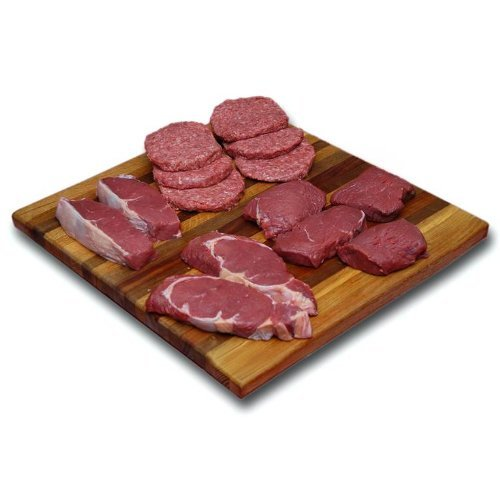 Meat Bison (Bison Burgers & Steaks Combo Pack: 100% All-Natural, Grass-Fed and Grain Finished North American Buffalo Meat with no Growth Hormones or Antibiotics - USDA Tested - 14 Pieces of Tender, Flavorful Meat)