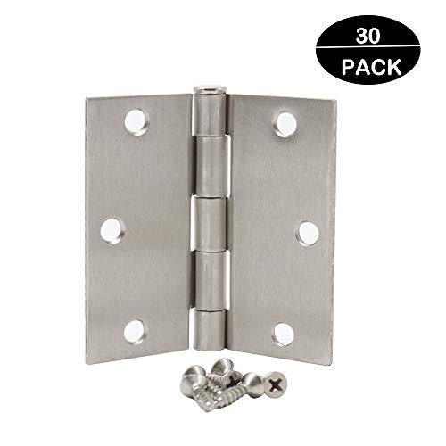 "Probrico(30 Pack) Hardware Door Hinges-Heavy-Duty 3 ½"" x 3 ½"" Inch Interior Hinges for Doors Brushed Satin Nickel with Square Corners Door Hinges"