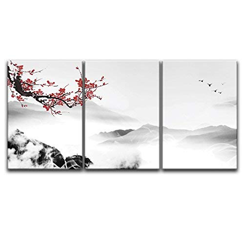 3 Panel Chinese Ink Painting Style Landscape with Mountain and Plum Blossom x 3 Panels