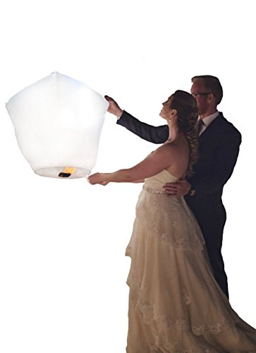 Chinese Paper Flying Sky Lanterns - for Wedding, Christmas, Memorial, Party Wish - Large White Eco Friendly Biodegradable 10 Pack Lantern Set with Small Wax Paper to Light (Diamond)