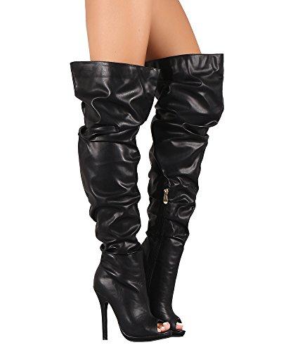 RF RAUM DER MODE Frauen Slouchy Peep Toe Stiletto mit Absatz vegane Overknee-Stiefel Schwarz Pu