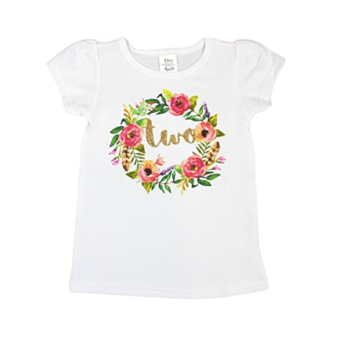 Girls 2nd Birthday Shirt Floral Boho Watercolor Wreath Glitter Gold Two Shirt,Gold,3T