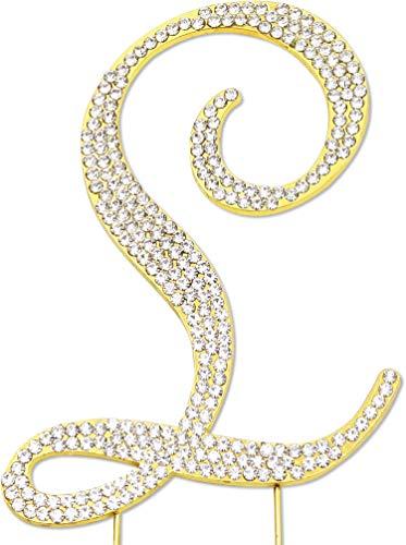 Sparkly Rhinestones Letter L Cake Topper, Birthday Wedding Anniversary Gold Initial L -