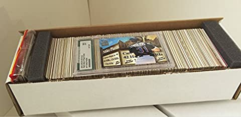 Baseball Collector's Box with 600 Cards Spanning 5 Decades, No Duplicates | Variety of Rookies, Stars & Commons | Includes Graded Card & Unopened Rack Pack | Shrink-wrapped in Cushioned White Gift (Duplicate Plate)