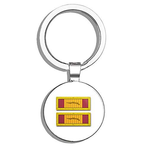 (HJ Media US Army Republic of Vietnam Gallantry Cross Unit Citation Ribbon Metal Round Metal Key Chain Keychain Ring)