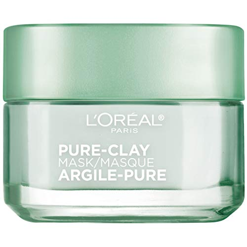 L'Oréal Paris Skincare Pure-Clay Face Mask with Eucalyptus for Oily and Shiny Skin to Purify and Matify, 1.7 oz.