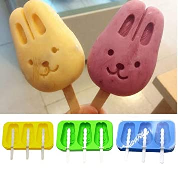 Somedays Rabbit Style 3 Grids Popsicle,Ice Lolly Mould Silicone,Popsicle  Mould With cover,Ice Lolly Moulds for Children