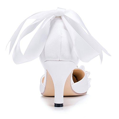 Fashion Moda Blanco Mujer Boda De Kevin La Zapatos A gz7gwd