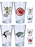 Game Of Thrones Pint Glass & Shot Glass Set of 8