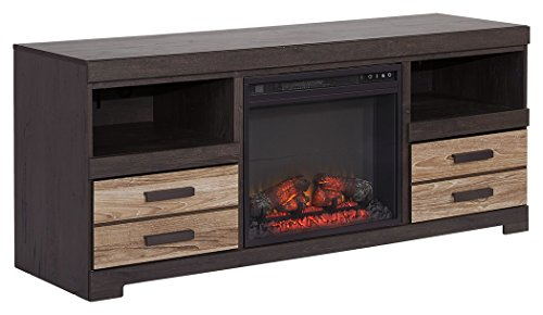 Ashley Furniture Signature Design - Harlinton Two-Tone TV Stand with Fireplace Insert - Warm ()