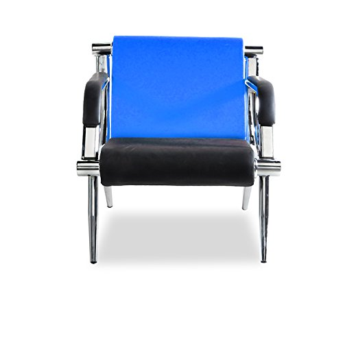 BORELAX Blue and Black PU Leather Office Reception Chair Waiting Room Visitor Guest Sofa Seat